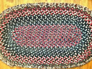 Antique Vintage Primitive Oval Hand Made Braided Rug Throw Navy Red 22 X37 Wool