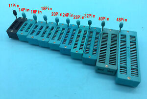 14pin 16pin 18 20 24 28 32 40 48 Pin 2 54mm Dip Test Universal Zif Dip Ic Socket