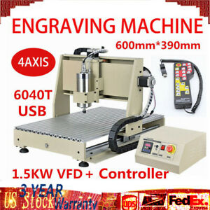 Engraving Milling drilling Machine 4 Axis 6040t Router Engraver 1 5kw Wired Usb