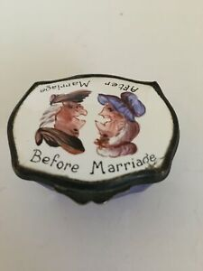 Whimsical Porcelain Trinket Box Before And After Marriage C Late 19th Century