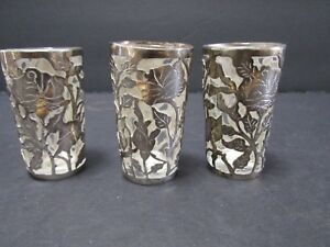 3 Sterling Silver Overlay Shot Glasses Tequila Cordial Sippers 2 Floral Motifs