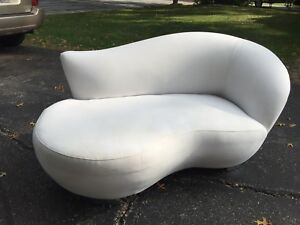2 Vintage Kidney Shaped Cloud Loveseats Kagan Mcm Pair Sofa Chaise Chrome Legs