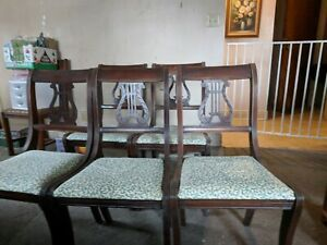 Six Lyre Back Dining Chairs 1940s Vintage