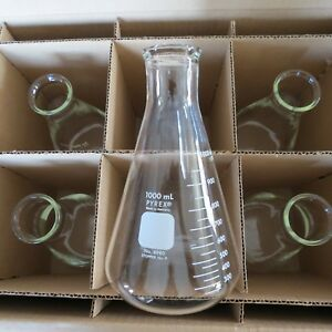 5 Pyrex Erlenmeyer Flasks 1000ml 4980 1l New Old Stock