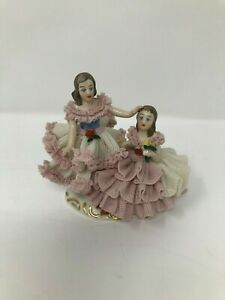 Vintage German Dresden Lace Porcelain Ballerina Couple Figurine Broken Finger