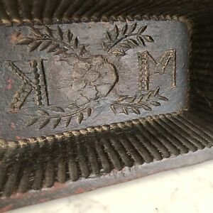 Sugar Mold Large Antique Hand Carved Wood Initials M K Americana