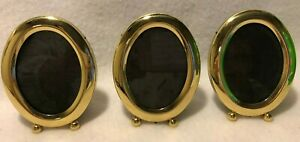 Oval Picture Frames Easel Lot Of 3 Gold Tone Ball Feet Small