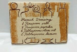 Vintage Mid Century Pomona French Dressing Recipe Kitchen Wall Tile 4 X 6