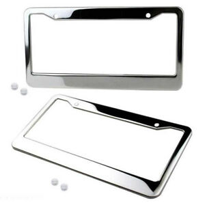 2 Chrome License Plate Frame Tag Cover Screw Caps Stainless Steel Silver Color