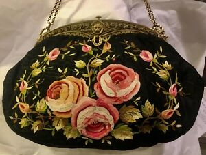 Antique French Embroidered 11 X 8 Silk Bag Big Roses