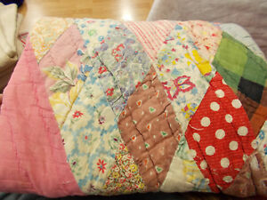Vtg Antique Distressed 1930 Pink Diamond Feedsack Cutter Lap Quilt Pc 35x42