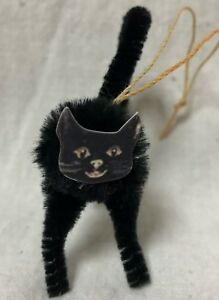 Primitives By Kathy S 6 Halloween Black Cat Chenille Ornaments 13872