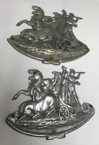 Pair Of Vtg Art Deco Madness Figural Roman Chariot Horses Architectural Grates