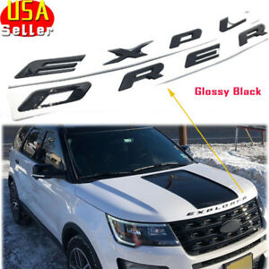 Front Hood Explorer Emblem Fit 2011 2018 Ford Sport 8 Letters Badge Glossy Black