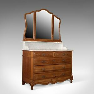 Antique Vanity Chest Of Drawers French Marble Top Mirror Back Mahogany C1880