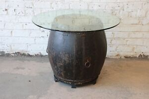 Antique African Drum Dining Table