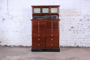 Exceptional Antique 22 Drawer Mahogany Dental Cabinet 1929