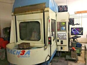 2001 Saeilo Mach 3a Horizontal Machining Center Fanuc Om Control Under Power