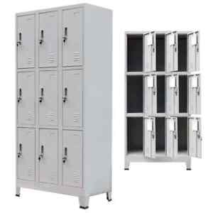 Storage Cabinet Locker 9 Compartment Steel Office School Gym Changing Room Chest