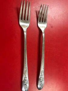 2 International Triumph Silverplate Grille Forks Marked Us Navy
