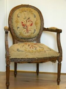 Louis Xvi Style Upholstered Fauteil En Cabriolet Arm Chair Early 20th Century