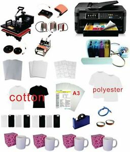 15 x15 8in1 Pro Sublimation Heat Press 11 x17 Epson Printer 7710 Ciss Kit