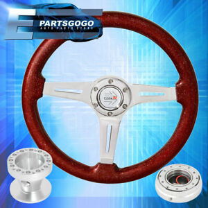 Hub For 89 98 240sx Slim Silver Quick Release Metallic Red Steering Wheel