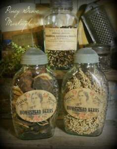 2 Rustic Farmhouse Glass Doyle S Herb Pantry Jars With Shoo Fly Dome Metal Cap