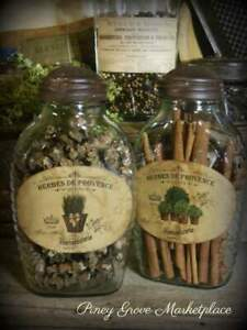 2 Rustic Farmhouse Glass French Herb Pantry Jars With Shoo Fly Dome Metal Cap