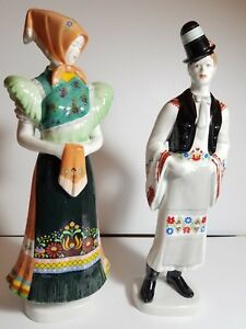 Vintage Hollohaza Man And Woman Figurine In Hungarian Folk Dress