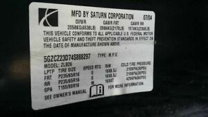 03 04 05 06 07 Saturn Vue Manual Transmission 4 Cyl From Vin 3s903336 128279