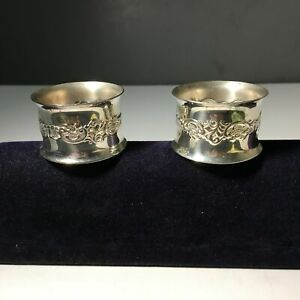 Vintage Pair Of Silver Plated Napkin Rings By Wallace
