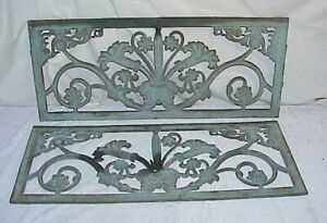 Pair Vintage Cast Iron Window Grate Cover Vent Ornate Wall Art Panel 14 X 33