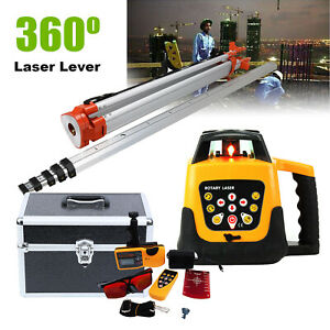 Self leveling Rotary Horizontal Vertical Laser Level Red Beam Staff Tripod Case