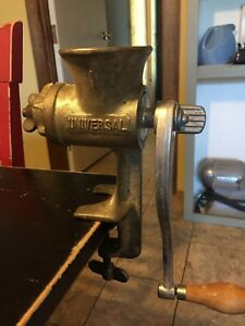 Vintage 1 Universal Cast Iron Hand Crank Meat Grinder Pre Owned