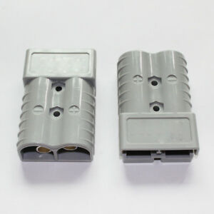Pair Battery Quick Connector Kit 350a 2 0 Awg Plug Connect Disconnect Grey