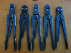 Amp Hand Crimper Tool Ratcheting Crimping Pliers Lot Of 5 90015 69524 Etc