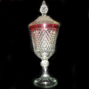 Diamond Point Indiana Glass Ruby Red Nearly 16 Lidded Pedestal Compote