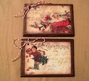 5 Wooden Vintage Postcard Christmas Ornaments Hangtags Winter Gifttags Seta