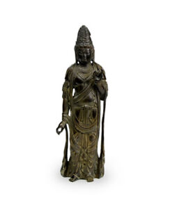 Meiji Period Japanese Antique Bronze Kannon Buddha Statue With Box Vintage Monk