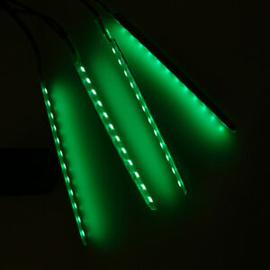 12 Led Car Interior Atmosphere Neon Lights Strip Music Green Lamp Bar Universal