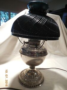 Antique B H Bradley Hubbard Converted Oil Lamp With Shade