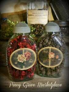 Rustic Farmhouse Glass Roses Herb Pantry Jars With Shoo Fly Dome Metal Cap