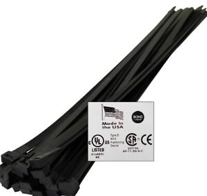 Jumbo 24 36 48 Usa Industrial Uv Black Wire Cable Zip Ties Uv Nylon Tie Wrap