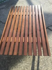 Vintage Small Mid Century Modern Slat Bench Table Walnut Nelson Eames Era 1960 S