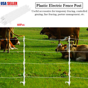 40pcs Plastic Step In Wires Tape Electric Fence Insulated Posts Grazing Fencing