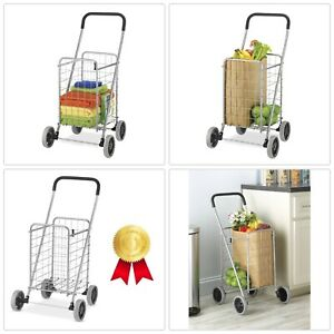 Rolling Utility Shopping Cart Heavy Duty Metal Wheeled Easy Storage Organizer