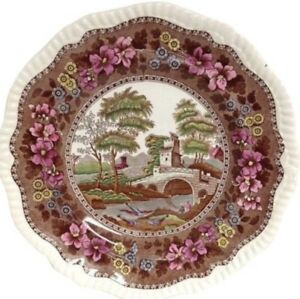 Antique Copeland Late Spode Plate Pink Brown Transferware Delft W T Sons