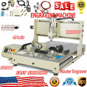 4axis Usb Port 6090 Router 2200w Vfd Engraving Machine Drilling Carving Engraver