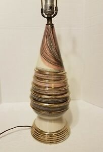 Mid Century Modern Pink Gray Gold Pottery Lamp Swirl No Shade